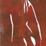 Weiblicher Rückenakt rot - Holzschnitt