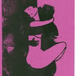Schwarz-weiße Liebe Eros Sex-Holzschnitt