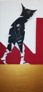 Schichtarbeit schwarz rot gold Installation