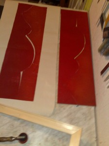 Schwangere rot auf weiß - Holzschnitt