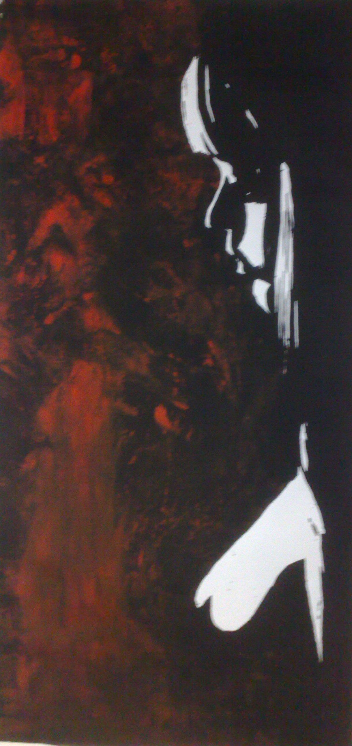 Sehnsucht - Akt rot - Holzschnitt