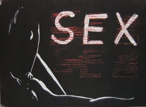 Sex - Holzschnitt MIxed Media
