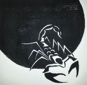 Holzschnitt Skorpion
