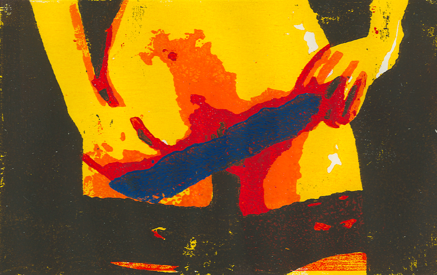 weiblicher Slip in blau - Holzschnitt