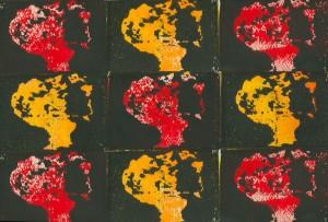 Solidarität der Völker - Atombome und Krieg - Holzschnitt