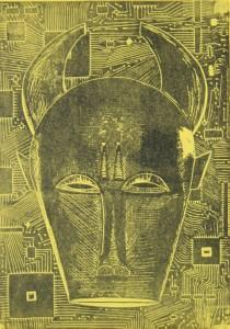 Stier gelb - Büffelmaske - Linolschnitt
