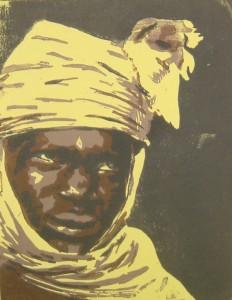 Tuareg gelb - Linolschnitt