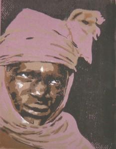Tuareg, violett - Linolschnitt