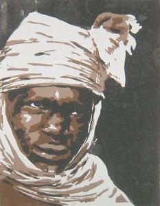 Tuareg weiß - Linbolschnitt