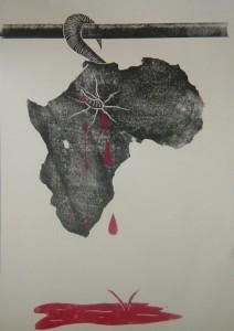 Unser Bild von Afrika - Raw Meat - Linolschnitt