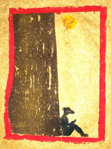 Unter dem Lesemond - Holzschnitt