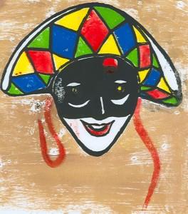 venezianische maske farbholzschnitt - Karneval
