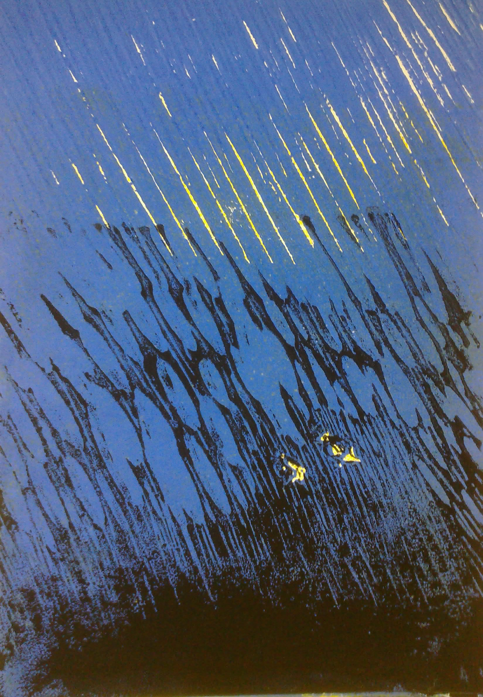 Linolschnitt - verlorener Schnitt Fische im roten Meer
