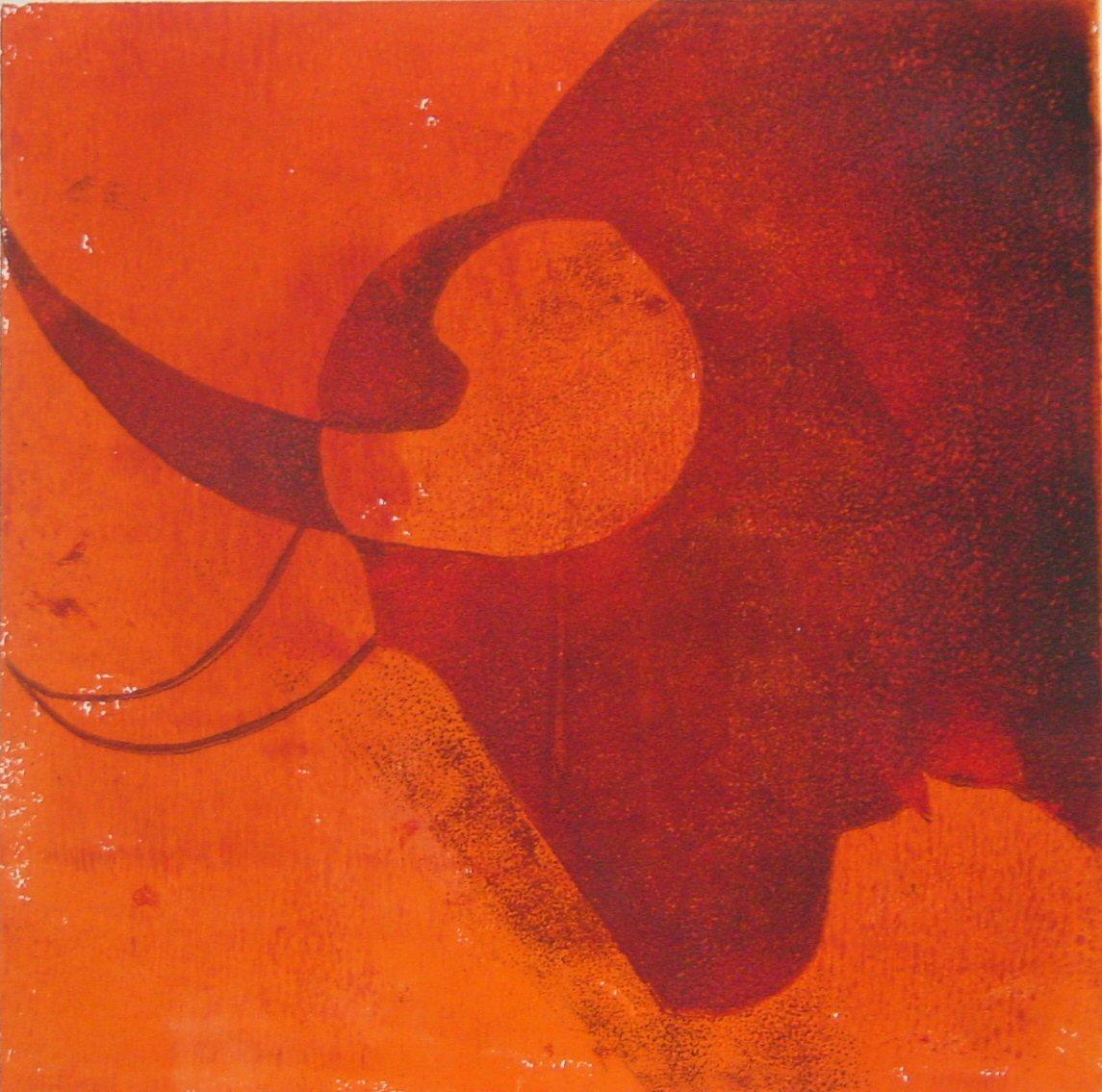 Viril Stier rot (Holzschnitt)