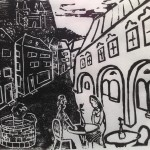 weiß-schwarzes-Paar in italienischem Dorf - Linolschnitt