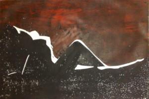 Weiblicher Akt rot-schwarz- liegend Holzschnitt