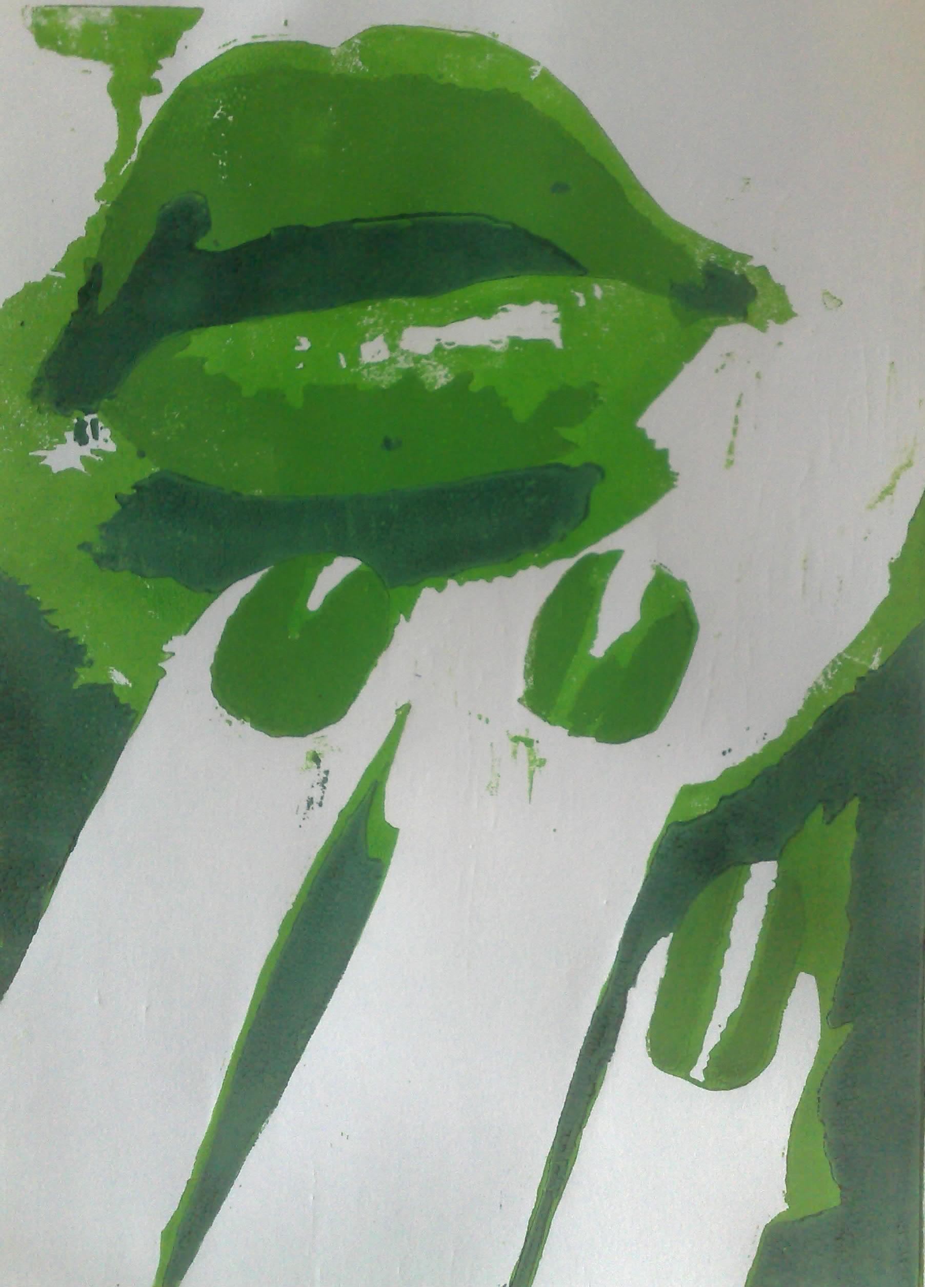 Weiblicher Mund - Holzschnitt grün