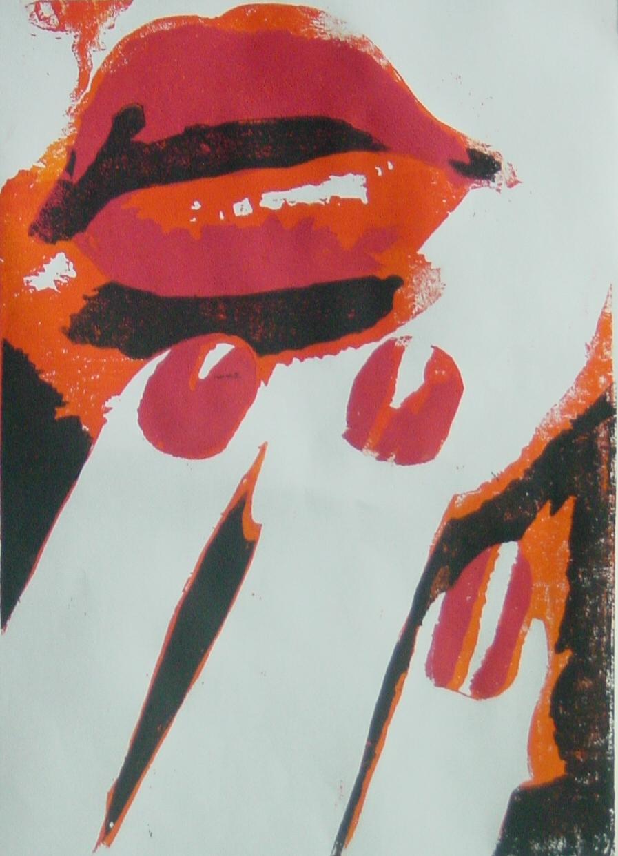 Weiblicher Mund - Holzschnitt rot