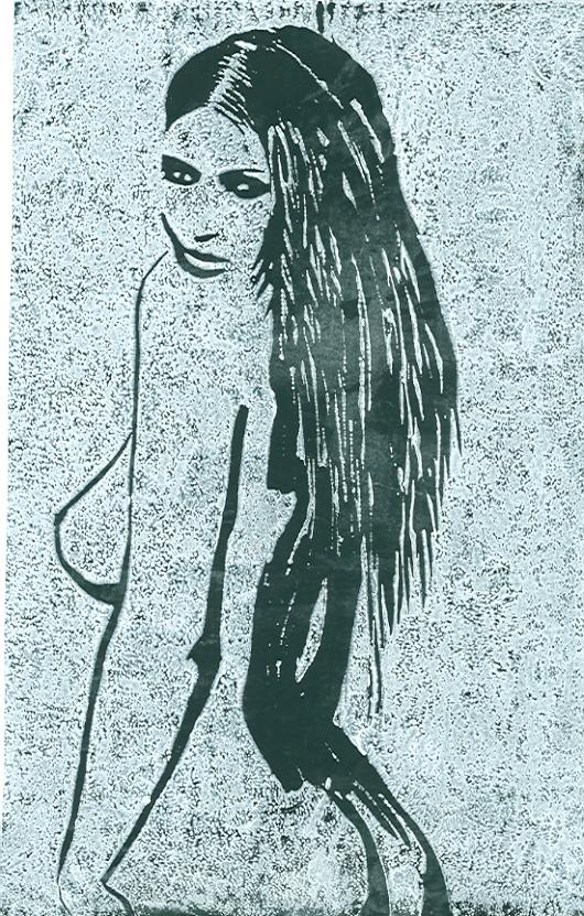 Weiblicher Rückenakt - Holzschnitt