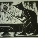 Werkzeug der Arbeit - Holzschnitt schwarz