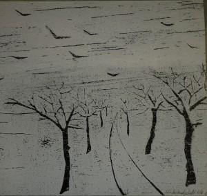 Winterlandschaft - Holzschnitt