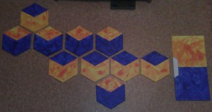 Zehn sechsecke und zwei Quadrate - Acryl