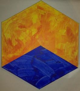 Zehn Sechsecke und zwei Quadrate - Acryl - Einzelbild