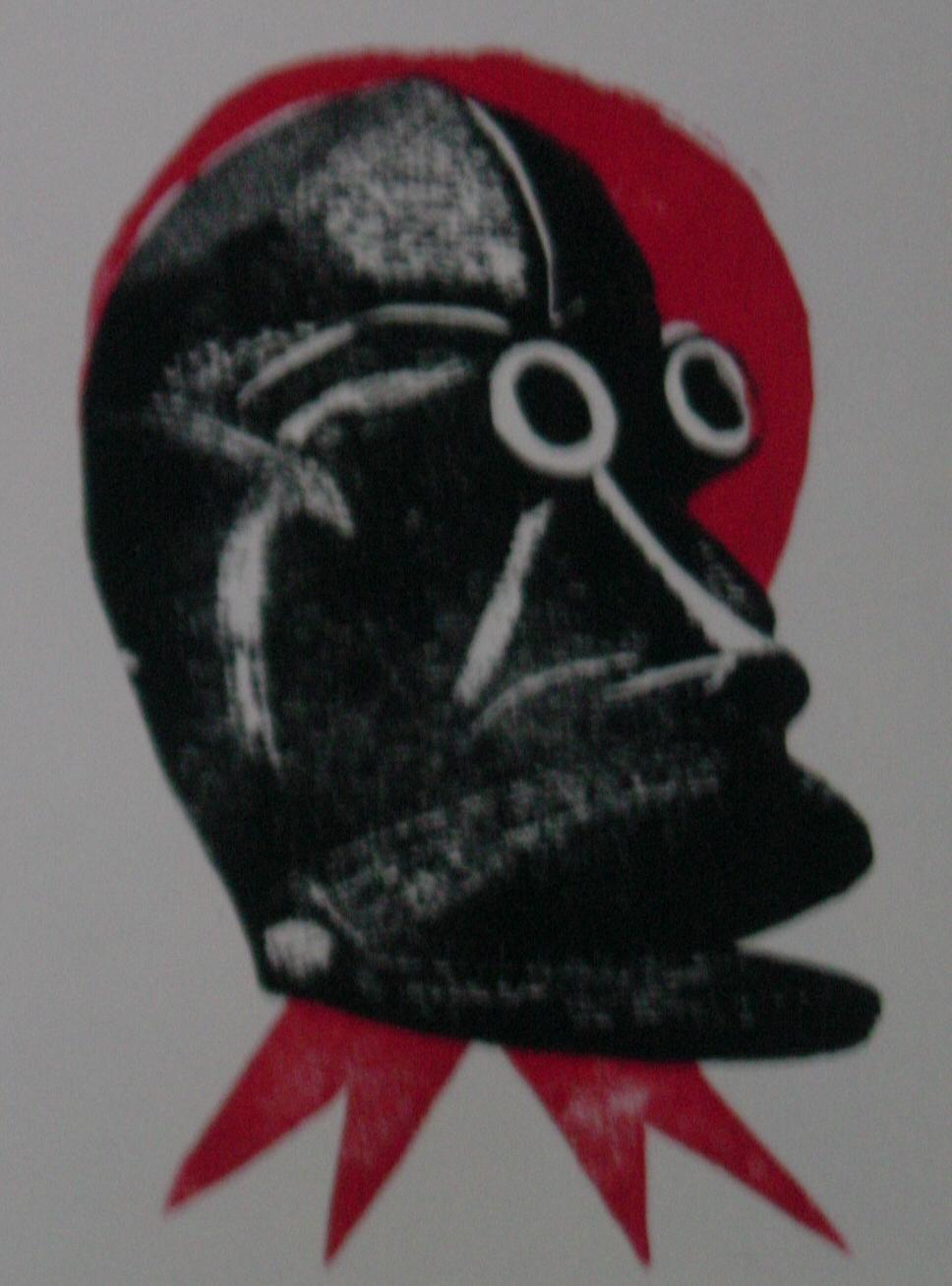 Zo Ge maske AIDS Holzschnitt