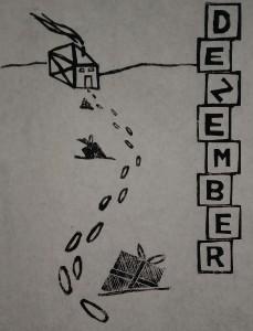 Kalenderblatt Dezember Arbeitswelt Linolschnitt