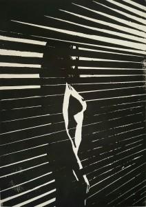 Weiblicher Akt: Verborgen hinter Jalousien - Holzschnitt