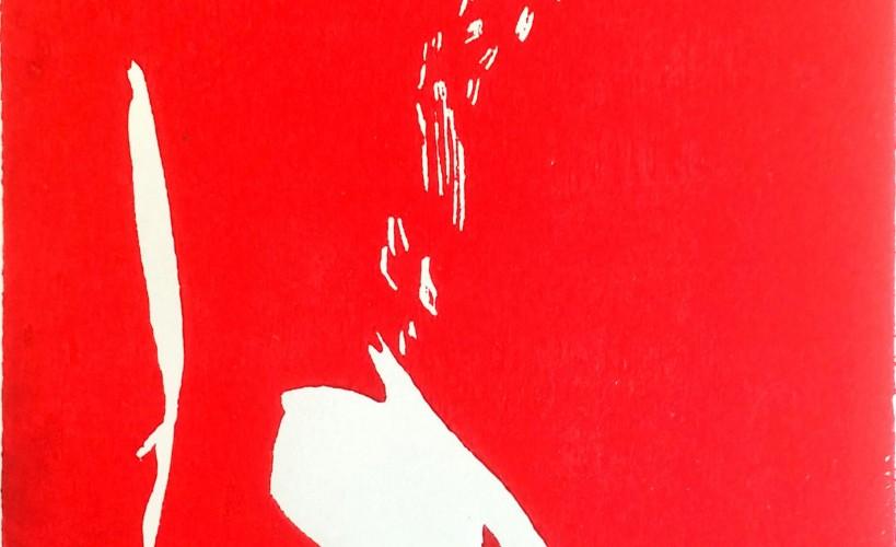 Lockenkopf Holzschnitt rot