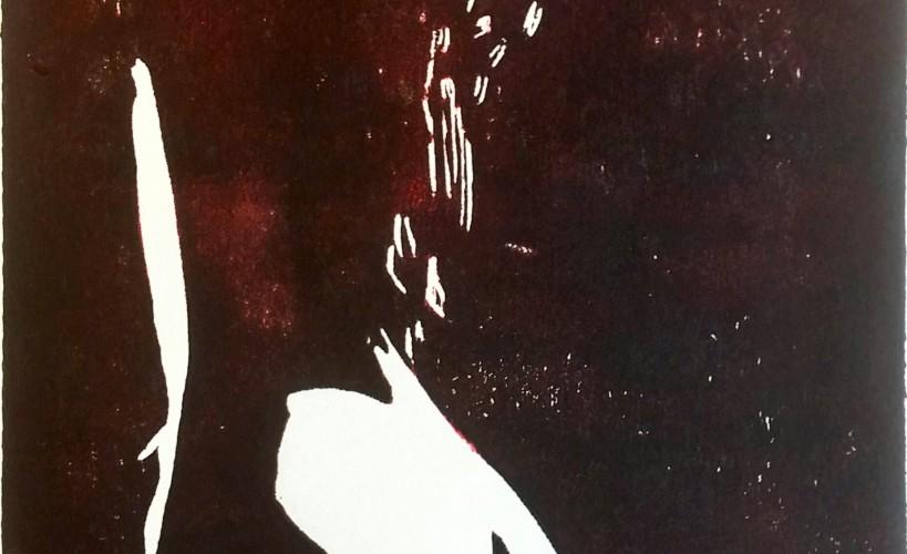 Lockenkopf Holzschnitt schwarz-rot