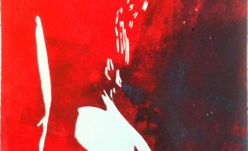 Lockenkopf Holzschnitt schwarz und rot