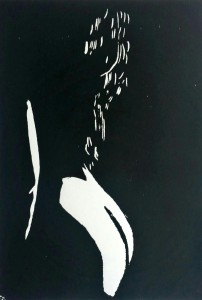 Lockenkopf (verborgen) Holzschnitt - weiblicher Rückenakt