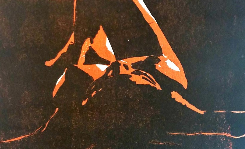 Sternenmädchen Holzschnitt orangeschwarz