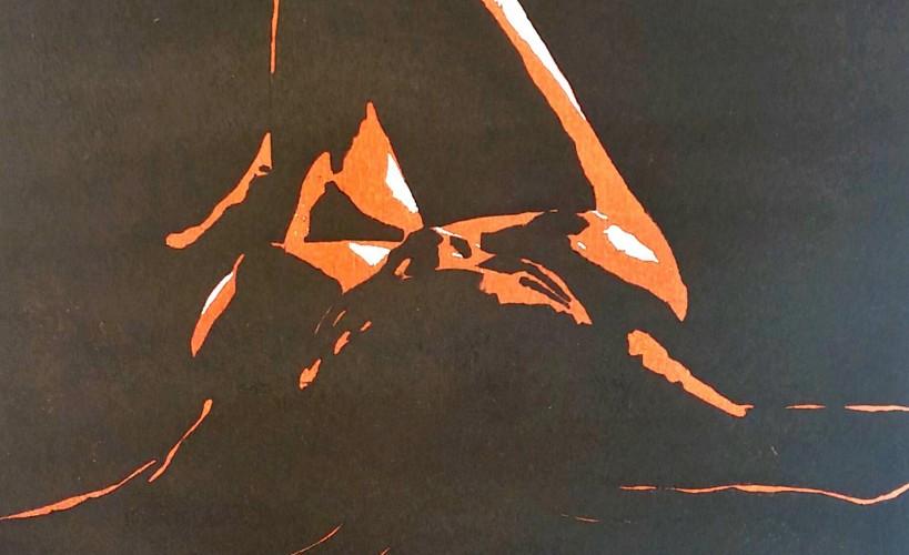 Sternenmädchen Holzschnitt Rot-orange