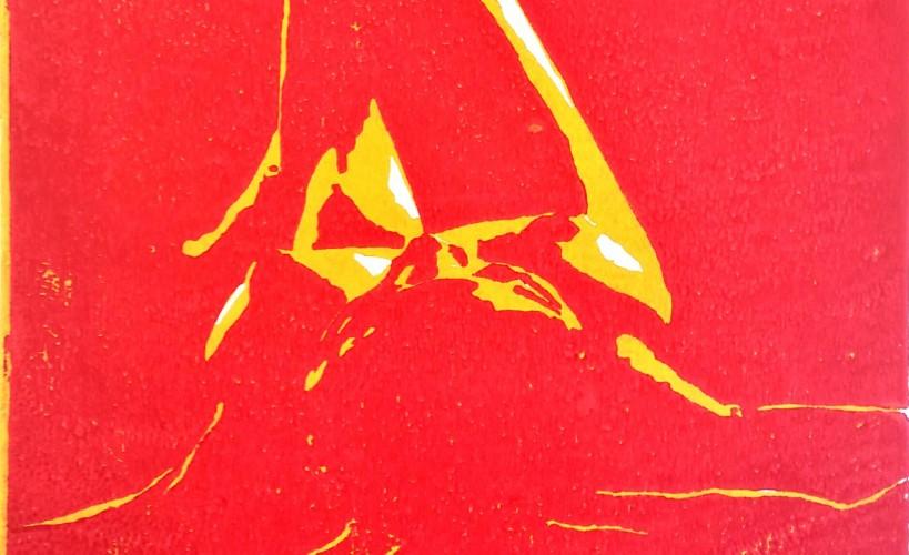 Sternenmädchen Holzschnitt Rot