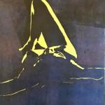 Sternenmädchen Holzschnitt schwarzblau