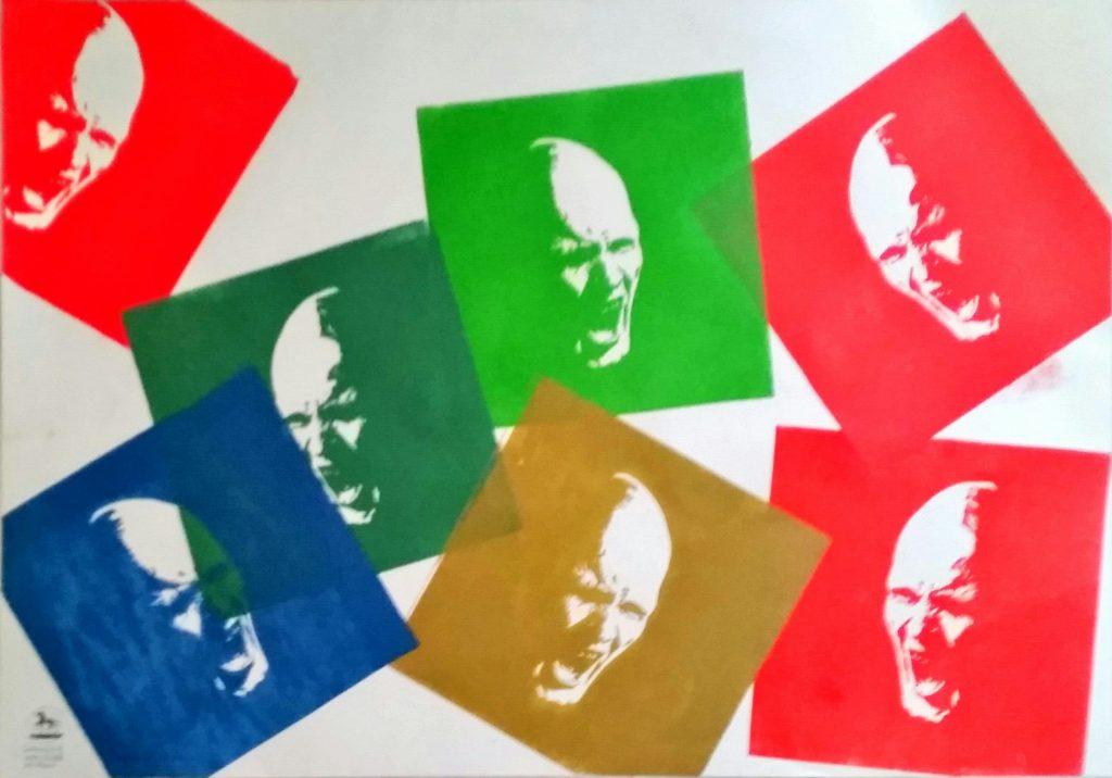 Screaming men Sieben Farben Holzschnitt nach einem Foto von Timo Bierbaum