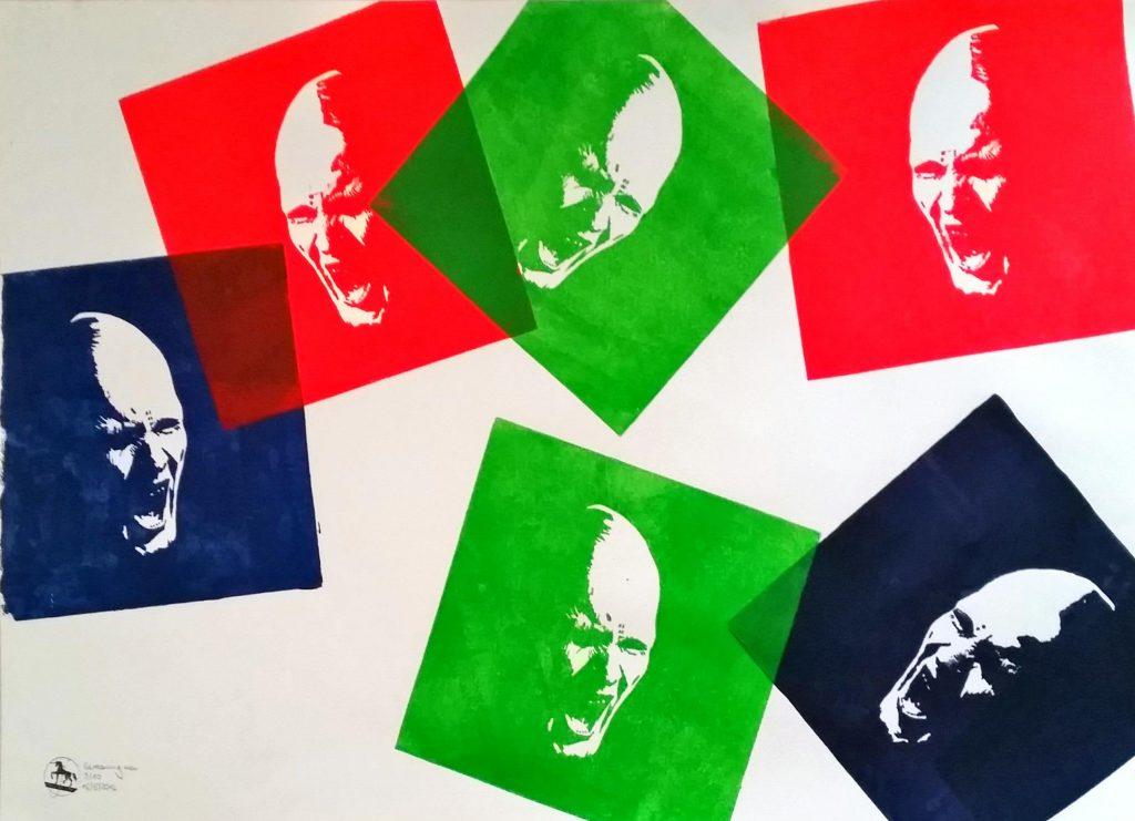 Screaming men Sechs Farben Holzschnitt nach einem Foto von Timo Bierbaum lila-grün-rot