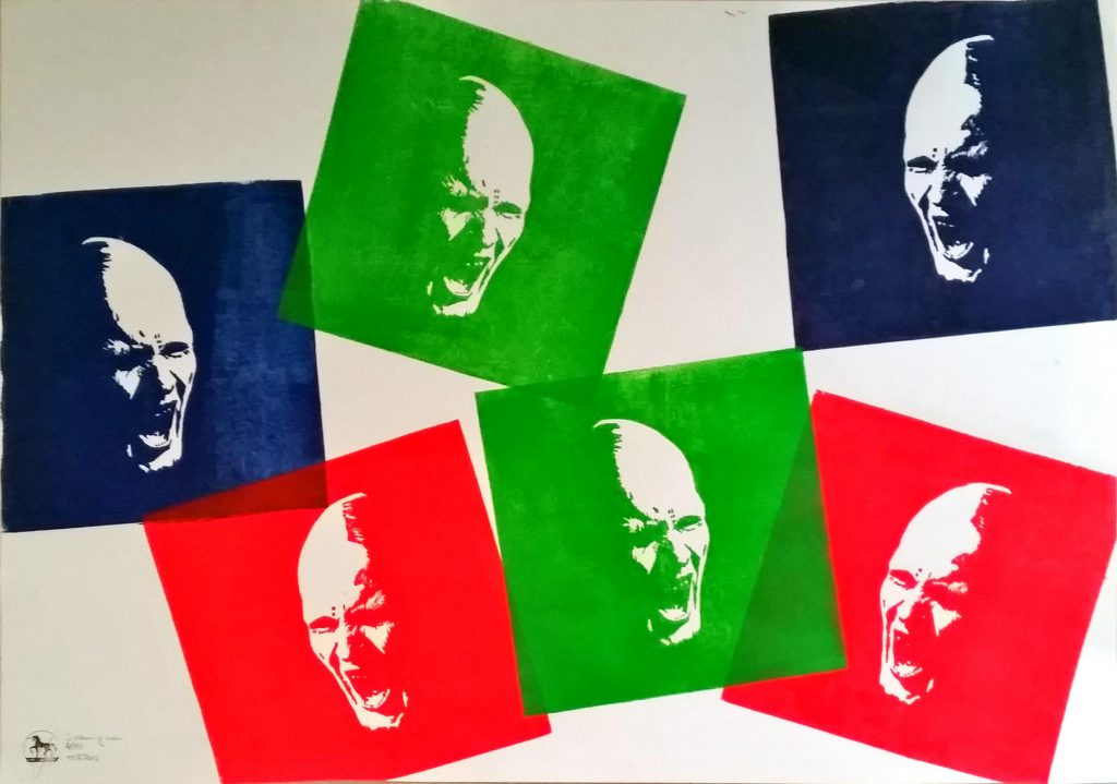 Screaming men Sechs Farben Holzschnitt nach einem Foto von Timo Bierbaum