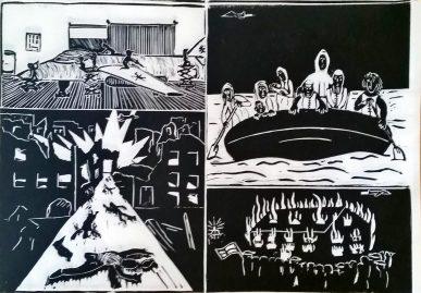 Der Weg des Fliegers - Comic Linolschnitt