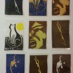 Taschenkunst: Vier mal Original-Linolschnitt im Visitenkarten-Format (in Folie eingeschweißt)