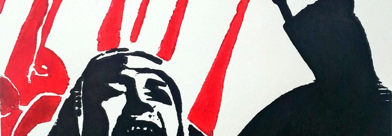 Die unmuendige arabische Frau Zwei-Farben-Holzschnitt