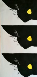 Katzenaugen - Zwei-Farben-Holzschnitt