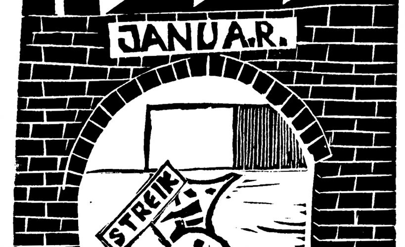 Linolschnitt Kalenderblatt Welt der Arbeit Januar