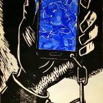 Holzschnitt Die Abhängigkeit vom Smartphone