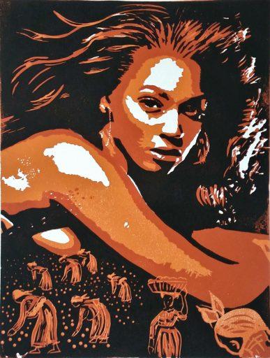 Beyonce Linolschnitt weiss