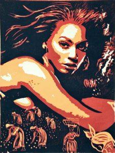 Beyoncé Linolschnitt braun