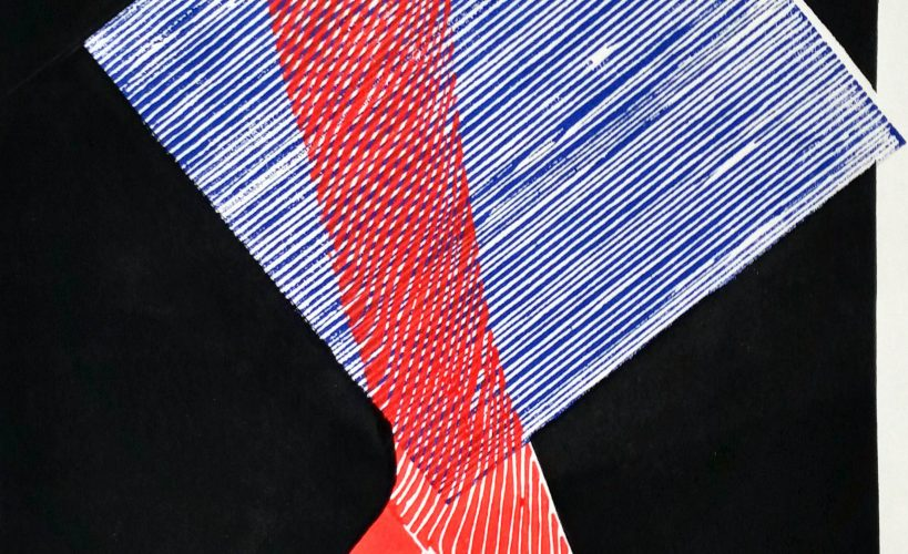 High Heel Linolschnitt Joachim Graf blau